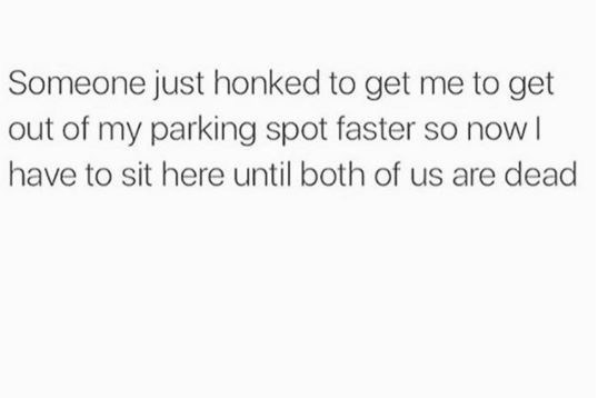 Text - Someone just honked to get me to get out of my parking spot faster so nowI have to sit here until both of us are dead