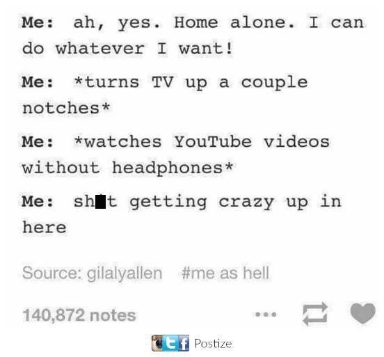 Text - Me ah, yes. Home alone. I can do whatever I want! Me: *turns TV up a couple notches* Me watches YouTube videos without headphones* Me: sht getting crazy up in here Source: gilalyallen #me as hell 140,872 notes Ef Postize t1
