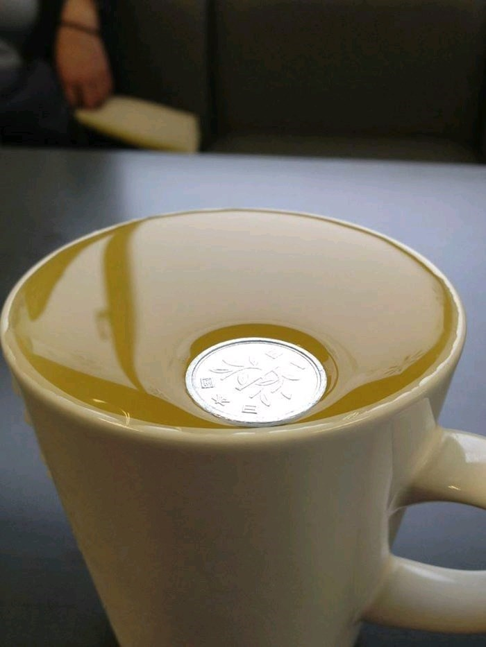 pic of a coin floating in a mug and defying gravity