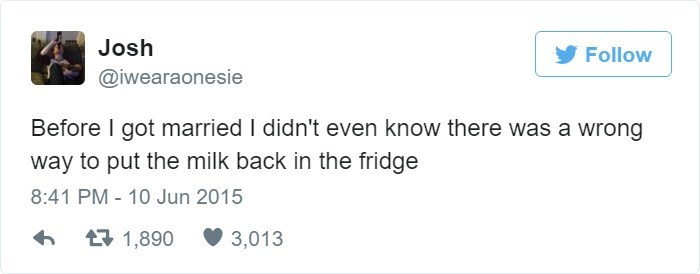 Tweet about marriage teaching you there is wrong way to put milk in fridge