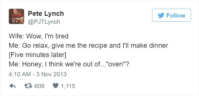 Tweet about husband trying to make dinner and not knowing what oven is