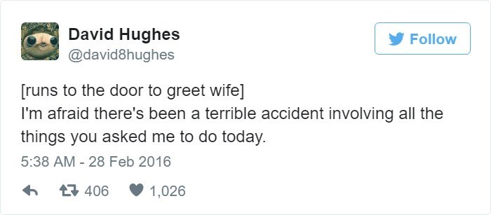 Tweet about terrible accident involving everything wife asked husband to do