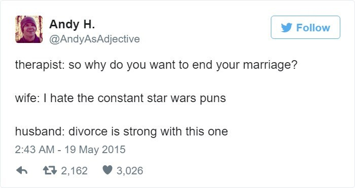 Tweet about making Star Wars puns during couple therapy