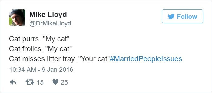 Tweet about your cat turning into your spouse's cat when it does something bad