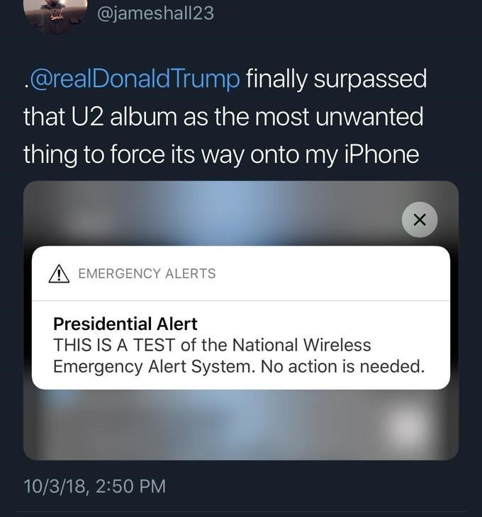 Trump meme about the presidential alert compared to the band U2