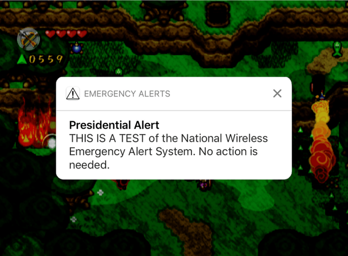 Trump meme about getting the presidential alert while playing Zelda