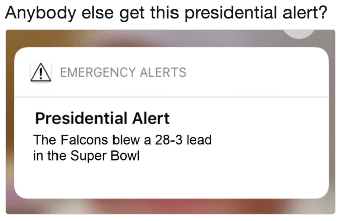Trump meme about the presidential alert announcing Super Bowl results