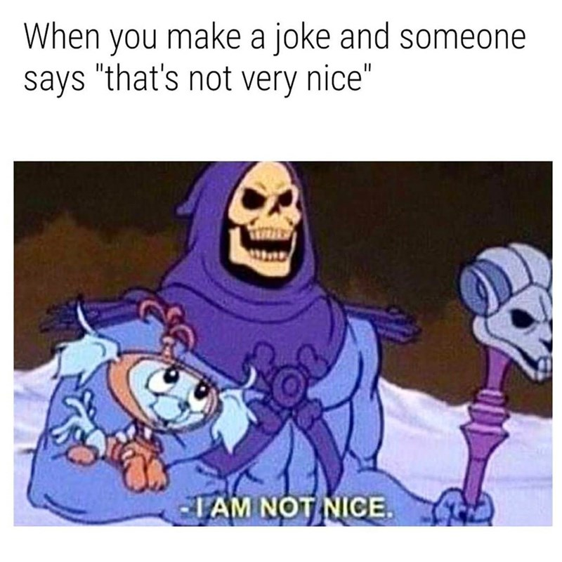 "Caption that reads, ""When you make a joke and someone says 'That's not very nice'"" above a pic of Skeletor saying ""I am not nice"""