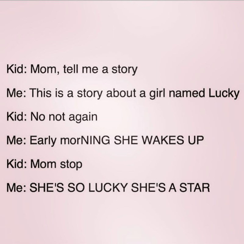 Parent tries to tell their kid a bedtime story about a girl named Lucky in reference to the Britney Spears song