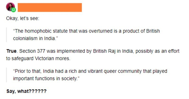 Indian woman calls out and clears up a misleading Tumblr thread.
