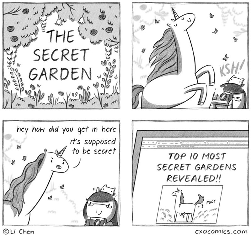 Text - THE SECRET GARDEN KSH/ hey how did you qct in here rt's supposcd to be secret TOP 10 MOST SECRET GARDENS REVEALED!! POOT 3 OLi Chen m Cxocomics.com