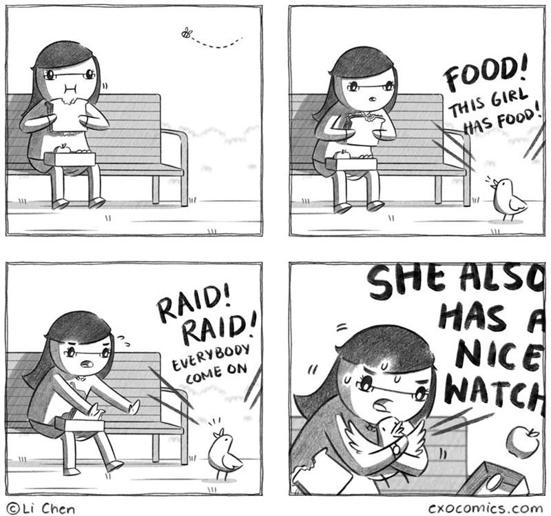 Cartoon - FOOD! THIS GIRL HAS FOOD! SHE ALSQ HAS A NICE NATCH RAID! RAID! EVERYB00Y COME ON Li Chen Cxocomics.com