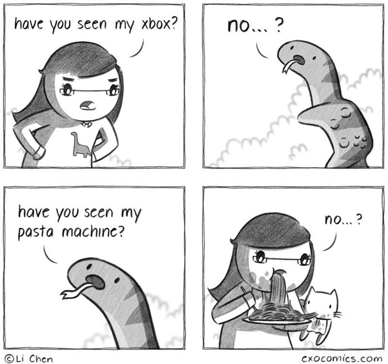 Cartoon - have you seen my xbox? no...? have you seen my pasta machine? no...? Li Chen Cxocomics.com