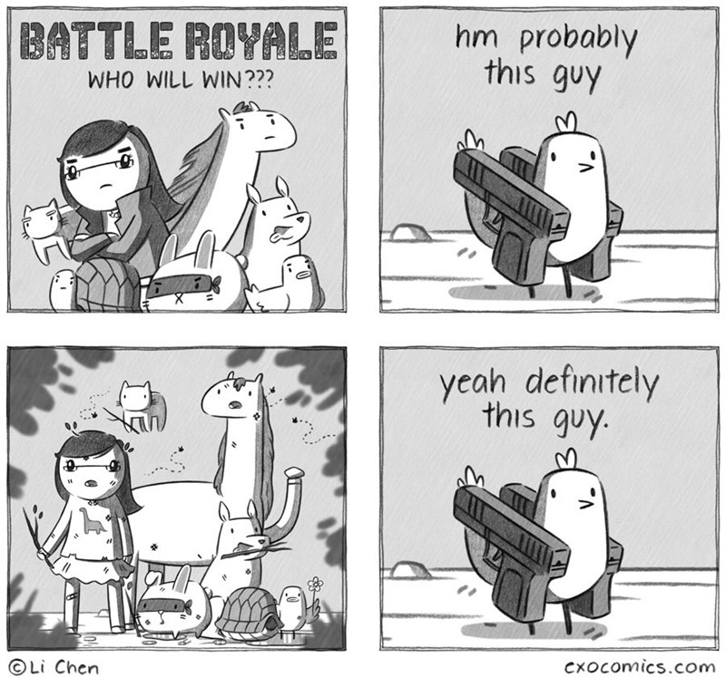 Cartoon - hm probably this guy BATTLE ROYALE WHO WILL WIN??? yeah definitely this quy. CxOcomics.com OLi Chen