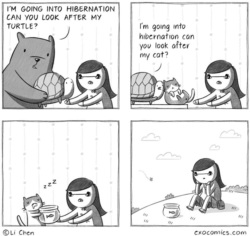 Cartoon - IM GOING INTO HIBERNATION CAN YOU LOOK AFTER MY I'm going into hibernation can TURTLE? you look after my cat? Li Chen Cxocomics.com