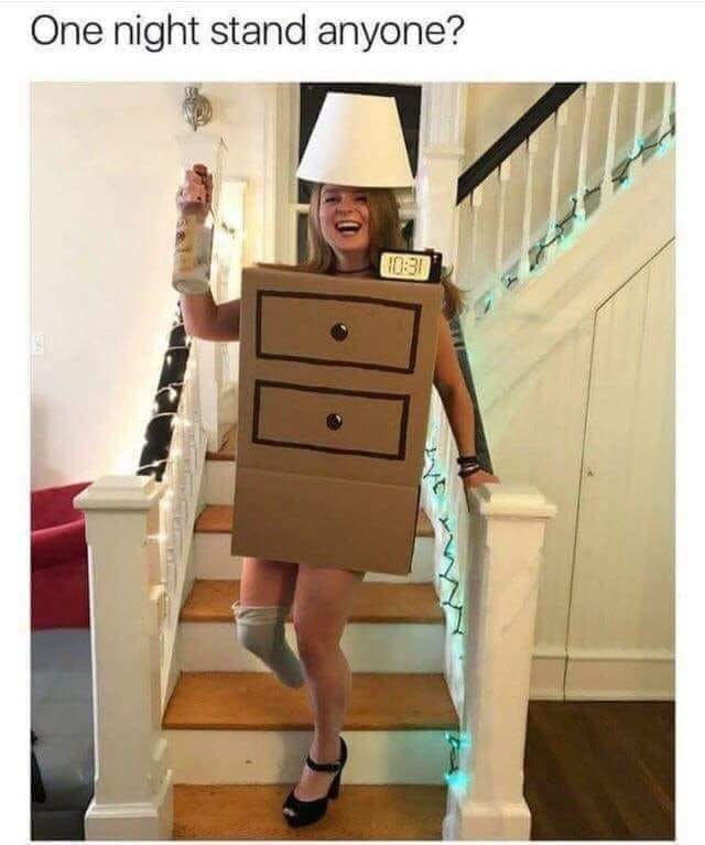 woman dressed as one night stand pun and holding vodka bottle