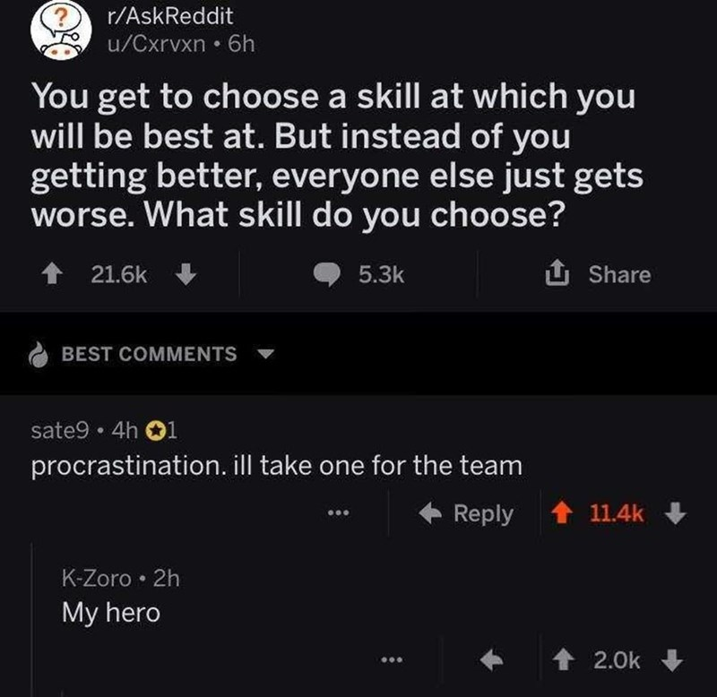 meme - Text - r/AskReddit u/Cxrvxn 6h You get to choose a skill at which you will be best at. But instead of you getting better, everyone else just gets worse. What skill do you choose? 个 21.6k 5.3k Share BEST COMMENTS sate9 4h 1 procrastination. ill take one for the team Reply 11.4k K-Zoro 2h My hero 2.0k
