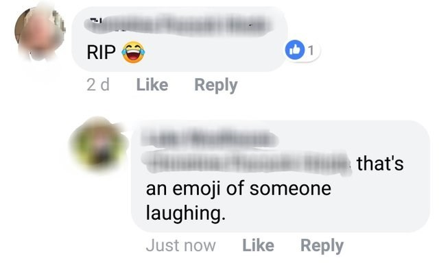 Text - 1 RIP Like Reply 2 d that's an emoji of someone laughing. Like Reply Just now