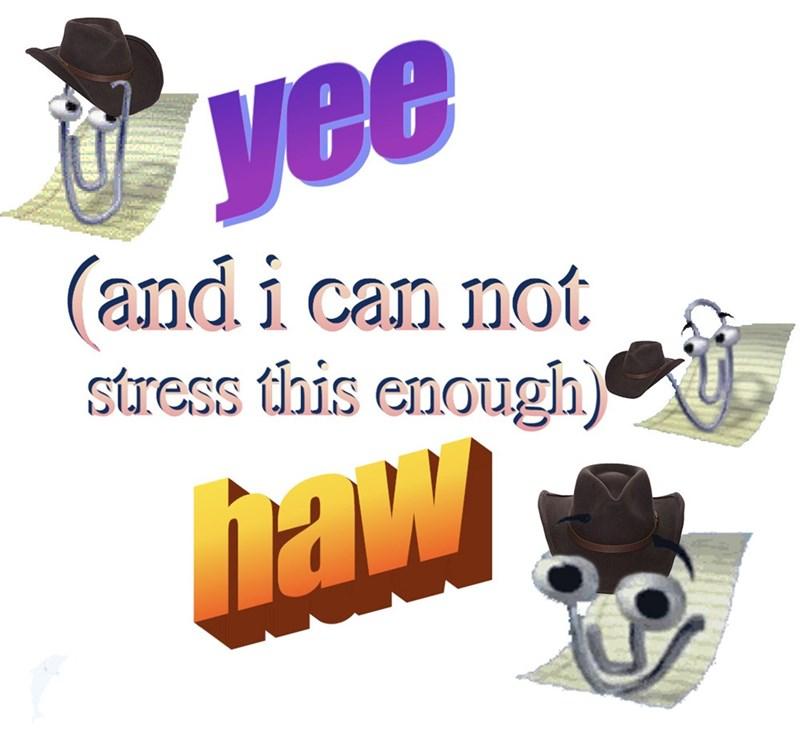 Funny meme making clippy a cowboy.