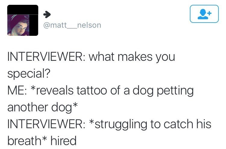 Funny meme about job interview, dog tattoo.