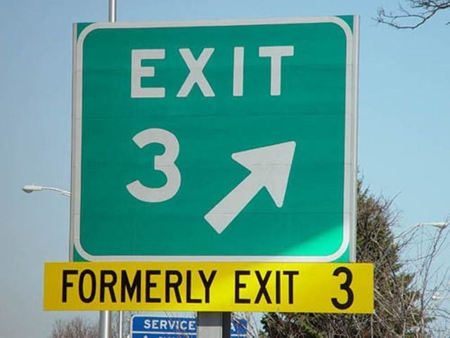 funny sign - Sign - EXIT 3 FORMERLY EXIT 3 SERVICE