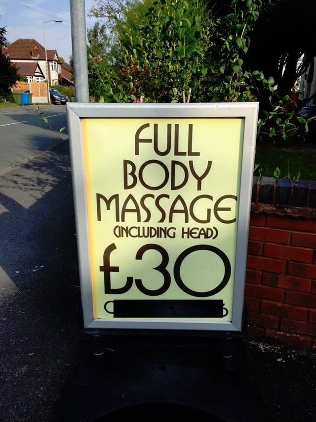 funny sign - Text - FULL BODY MASSAGE CNCLUDING HEAD) £30