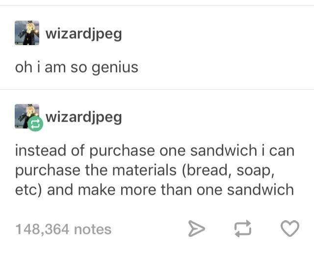 Text - wizardjpeg oh i am so genius wizardjpeg instead of purchase one sandwich i can purchase the materials (bread, soap, etc) and make more than one sandwich 148,364 notes