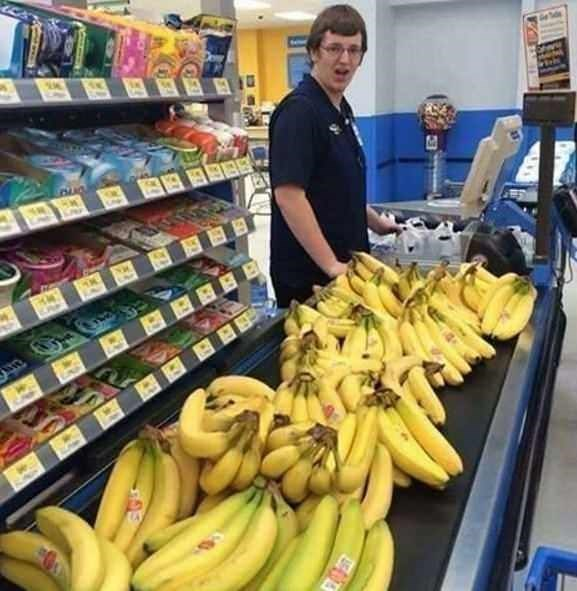 Cursed Image of a person buying hundreds of bananas at a grocery store