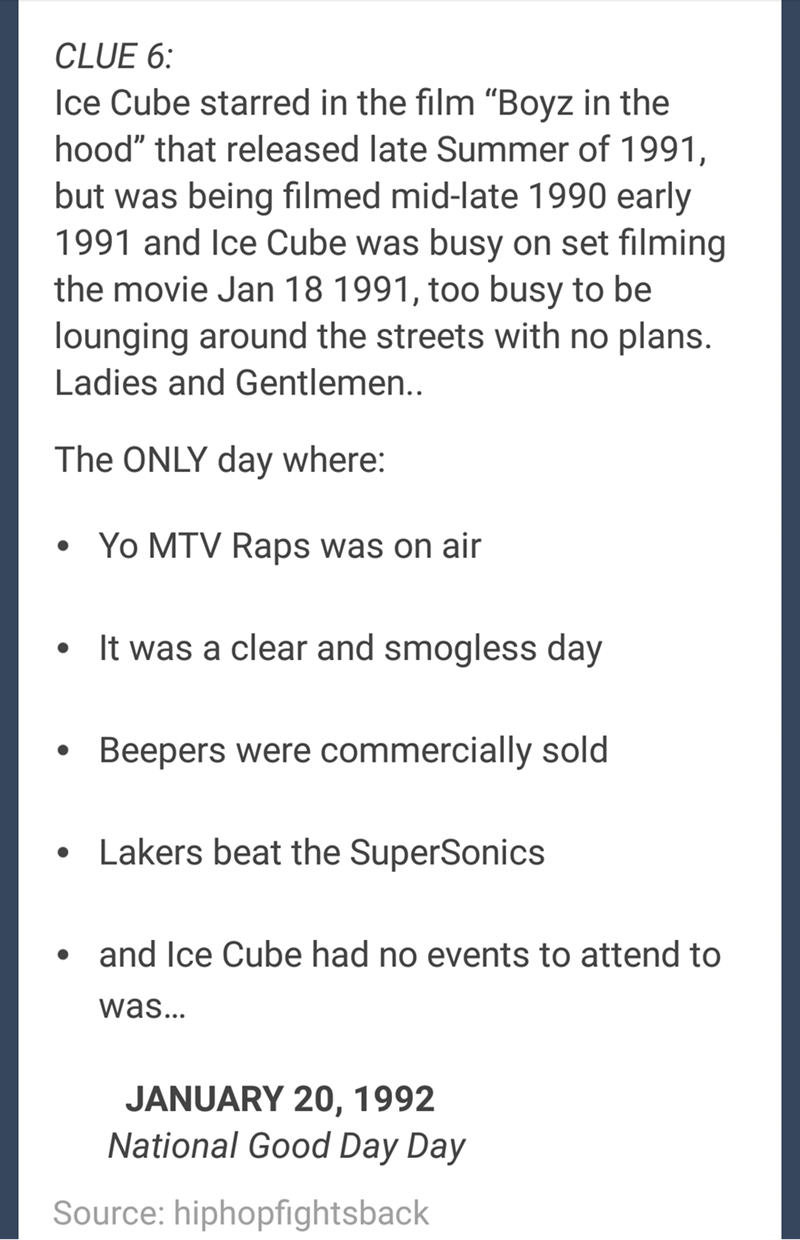 Tumblr user hiphopfightsback determines the exact day that Ice Cube's 'Today Was a Good Day' was about, January 20, 1992