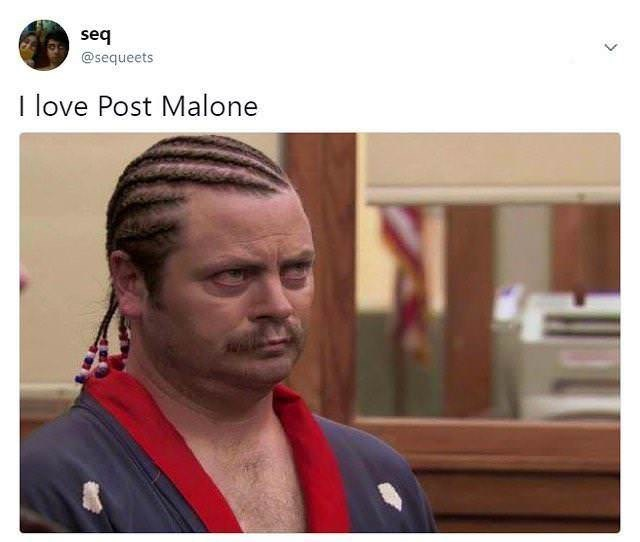 "Caption that reads, ""I love Post Malone"" above a pic of Ron Swanson with cornrows in his hair"
