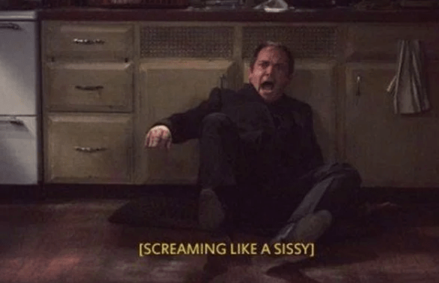 Crowley from Supernatural crawling on the floor screaming in fear