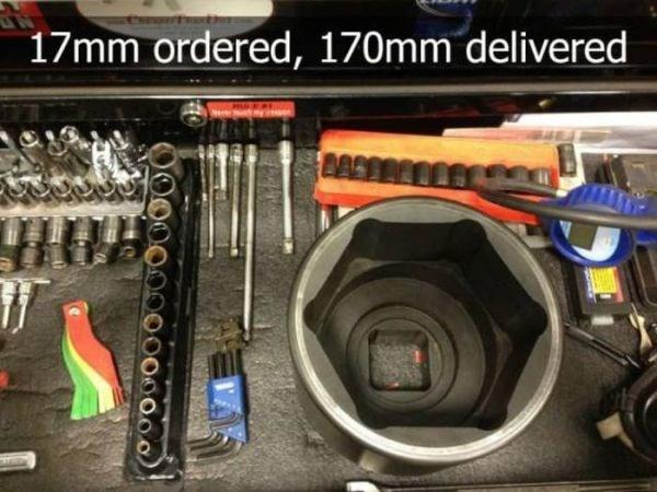 Electronics - 17mm ordered, 170mm delivered