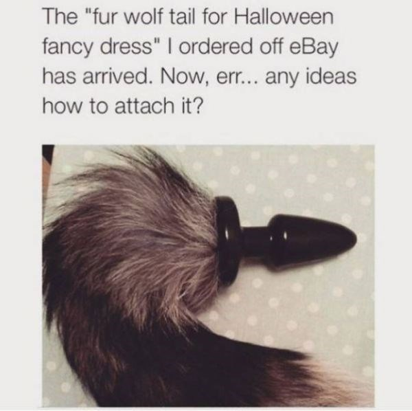 """Hair - The """"fur wolf tail for Halloween fancy dress"""" I ordered off eBay has arrived. Now, err... any ideas how to attach it?"""