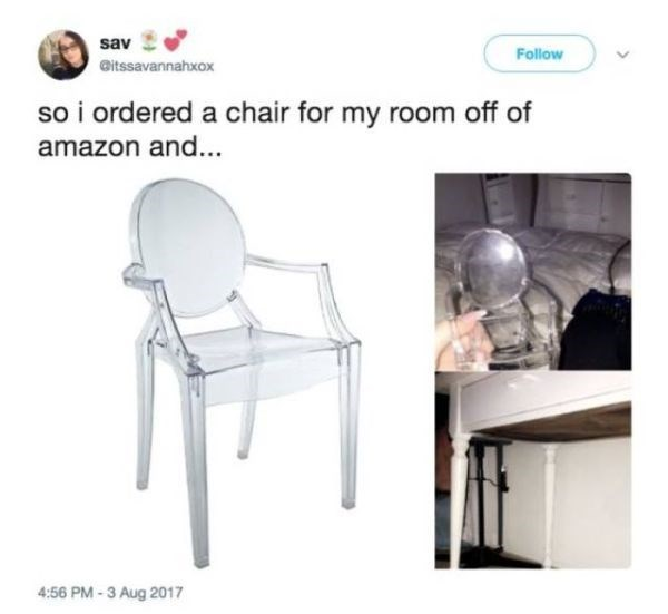 Chair - sav Follow Gitssavannahxox so i ordered a chair for my room off of amazon and... 4:56 PM-3 Aug 2017