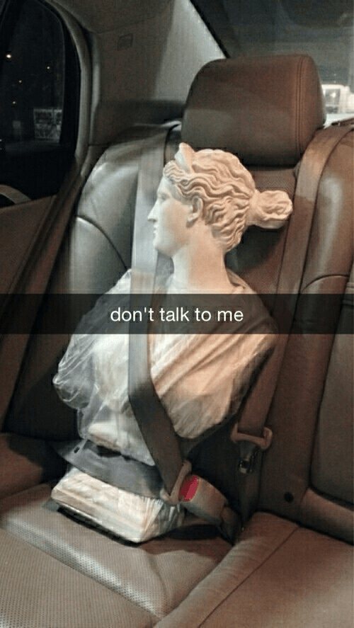 Car seat - don't talk to me