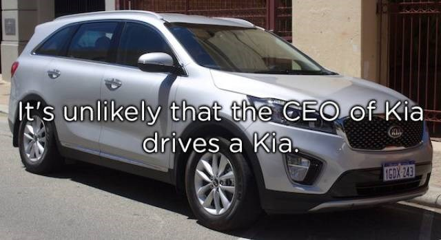 Land vehicle - It's unlikely that the CEOof Kia drives a Kia. 16DX 243