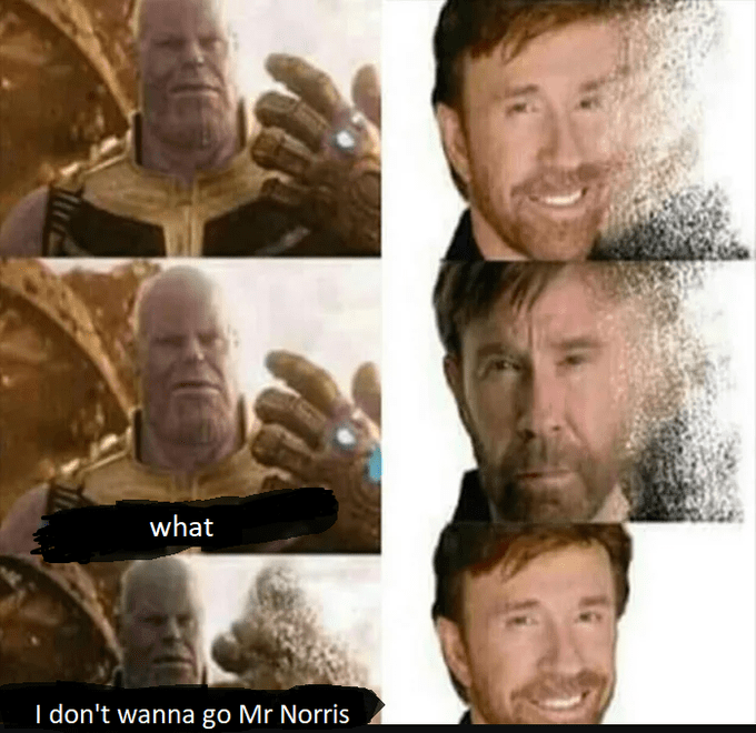 thanos meme - Face - what I don't wanna go Mr Norris