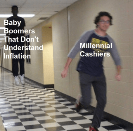 Standing - Baby Boomers That Dan't Understand Inflation Millennial Cashiers