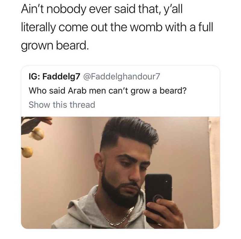 Funny meme about selfie with a beard.