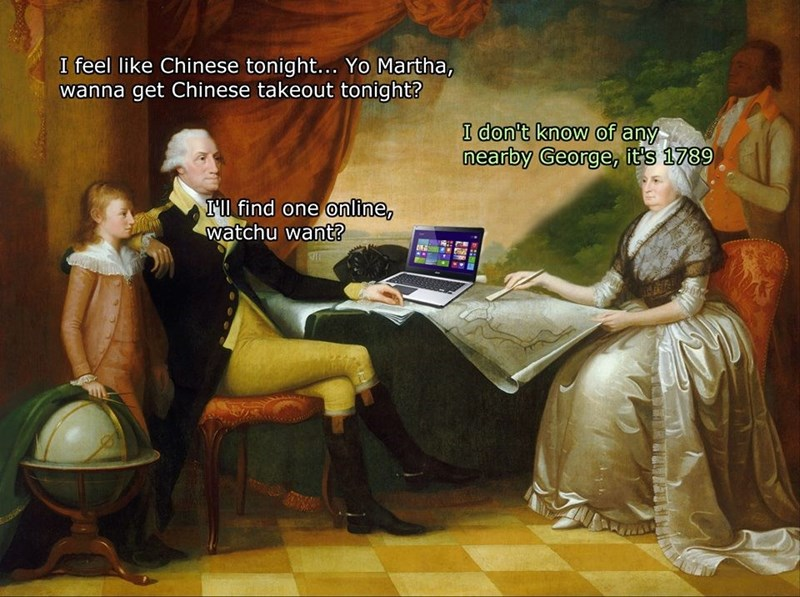 classical painting depicting man in 1789 looking for Chinese restaurants on laptop