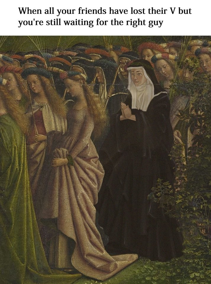 painting of single nun among crowd of women representing the one virgin left in a group of friends