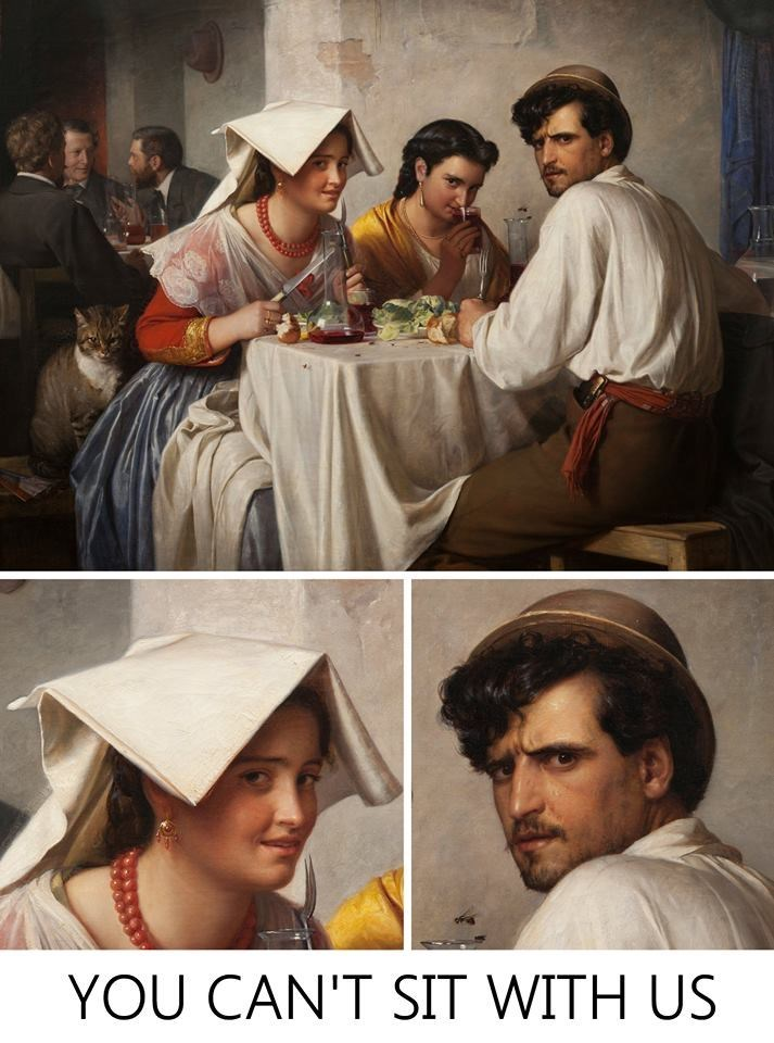 classical painting of group eating at table with two of them looking at the viewer in disdain saying they can't join them
