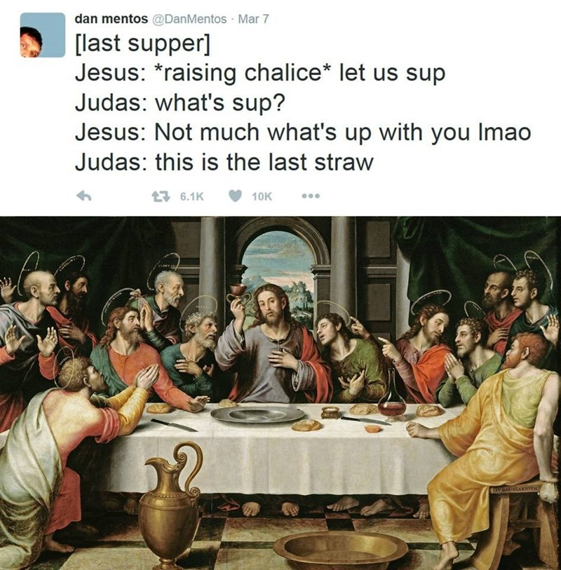 depiction of the last supper with Judas deciding to betray Jesus after he tells bad pun