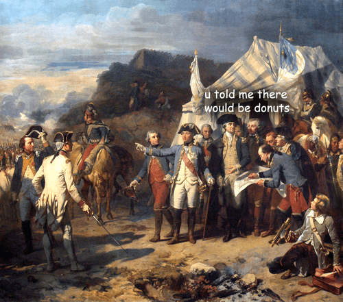 "Painting of George Washington in a crowd of people saying, ""You told me there would be donuts"""