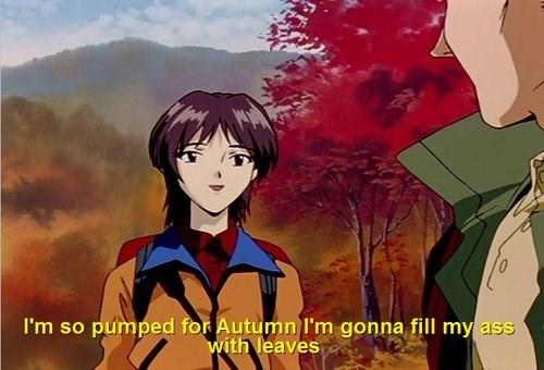 Anime screencap of woman describing how much she loves autumn