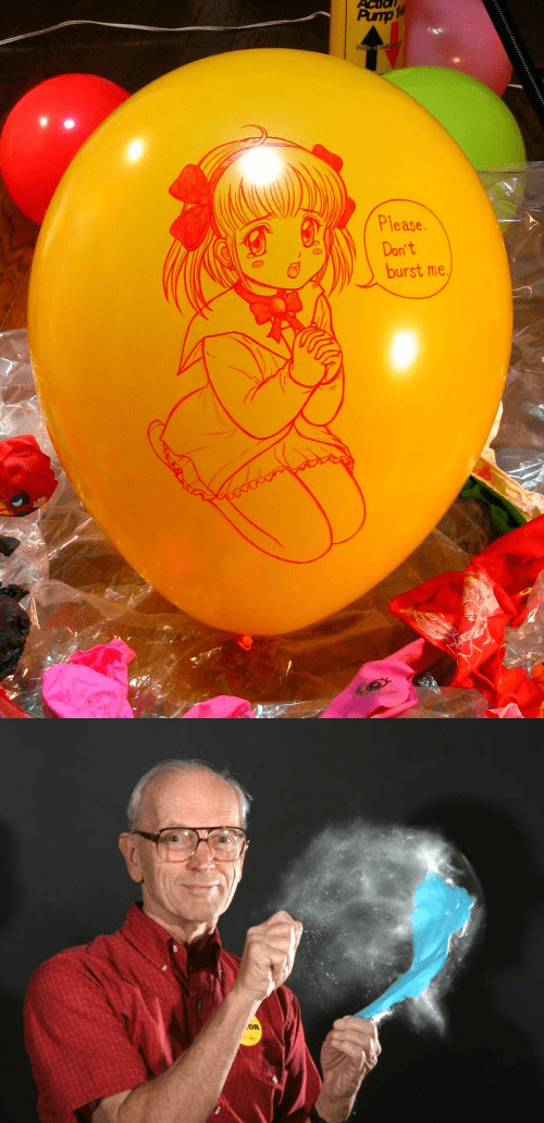 Meme about bursting a balloon that has a begging anime girl on it