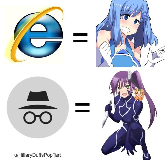 anime girl versions of the Internet Explorer browser and of Incognito Mode