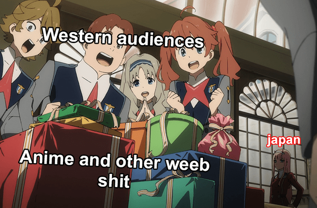 Meme about how Western audiences get excited by Japanese things