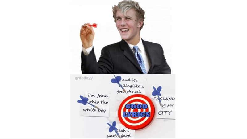 "Photoshopped pic of Jake Paul aiming a dart at a dart board, where he misses the bullseye that's labeled, ""Good lyrics"""