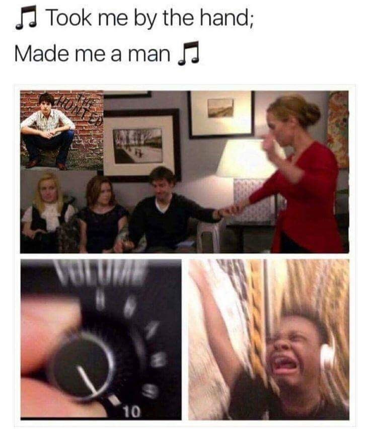 "random meme about The Office about enjoying and blasting the song ""that one night"""